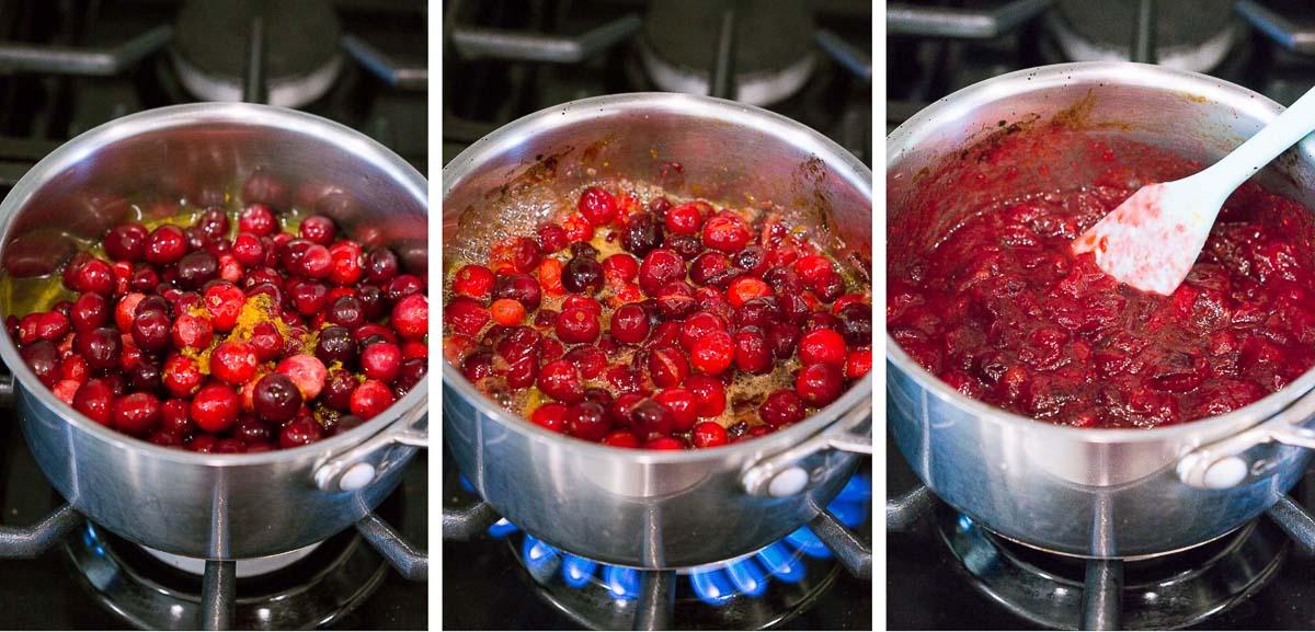 process shots of making cranberry sauce