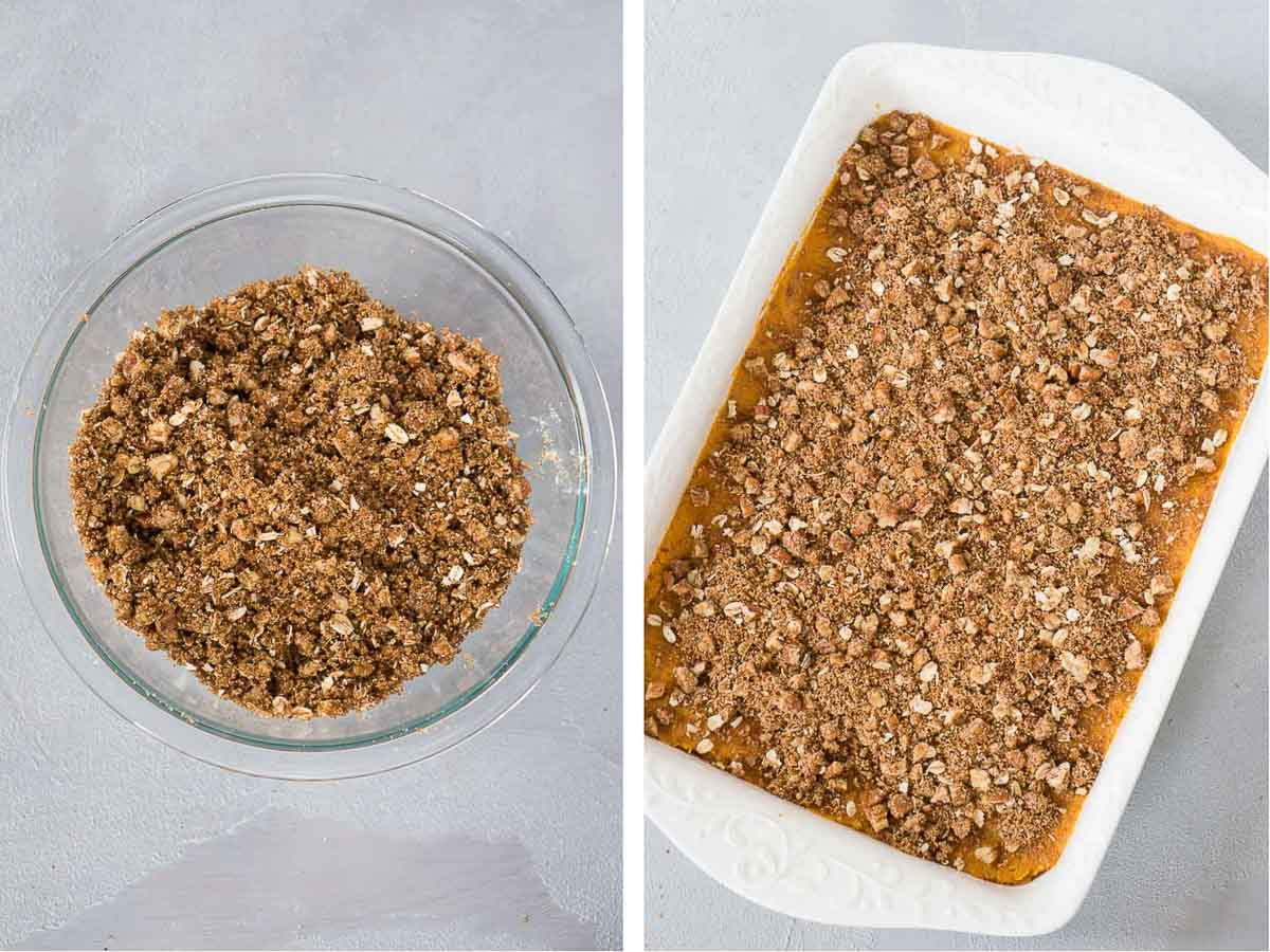 making pecan topping for sweet potato casserole