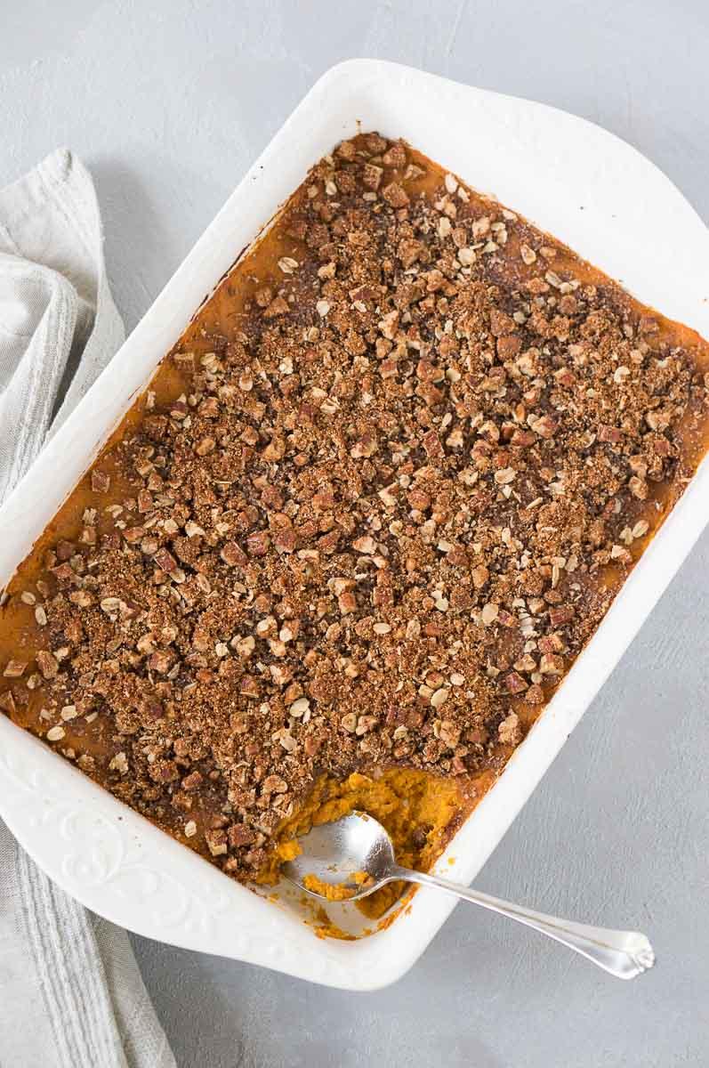 gluten-free sweet potato casserole with pecan topping