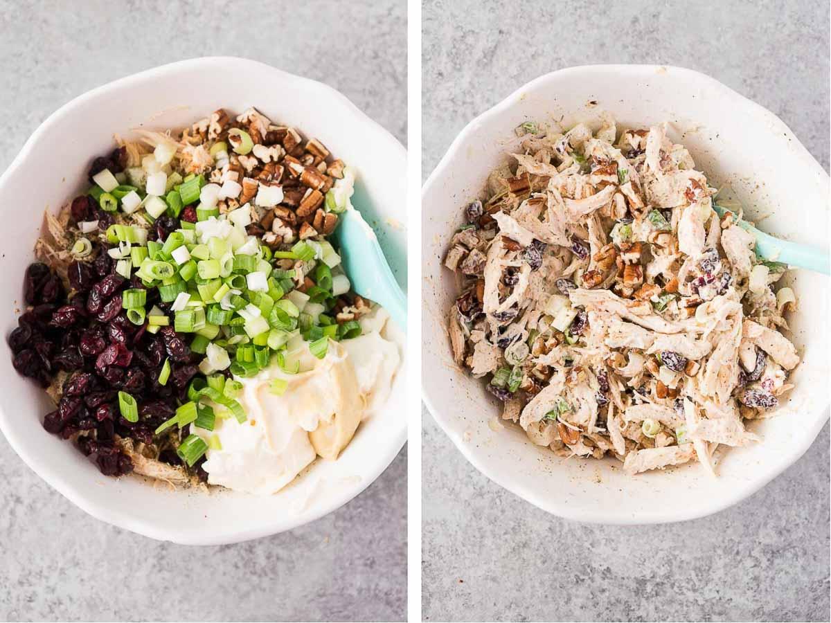 how to make turkey salad - process shots