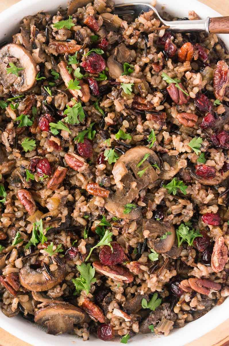 close up shot of wild rice with mushrooms recipe