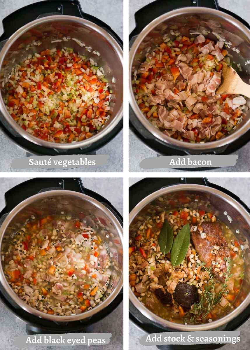 how to make instant pot hoppin' john - process shots