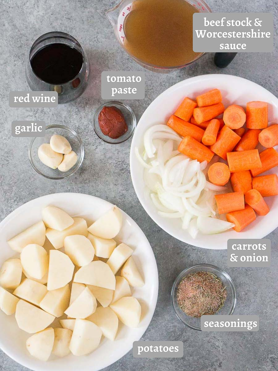 ingredients for pressure cooker beef roast with potatoes and carrots