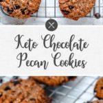 keto chocolate pecan cookies - long pin