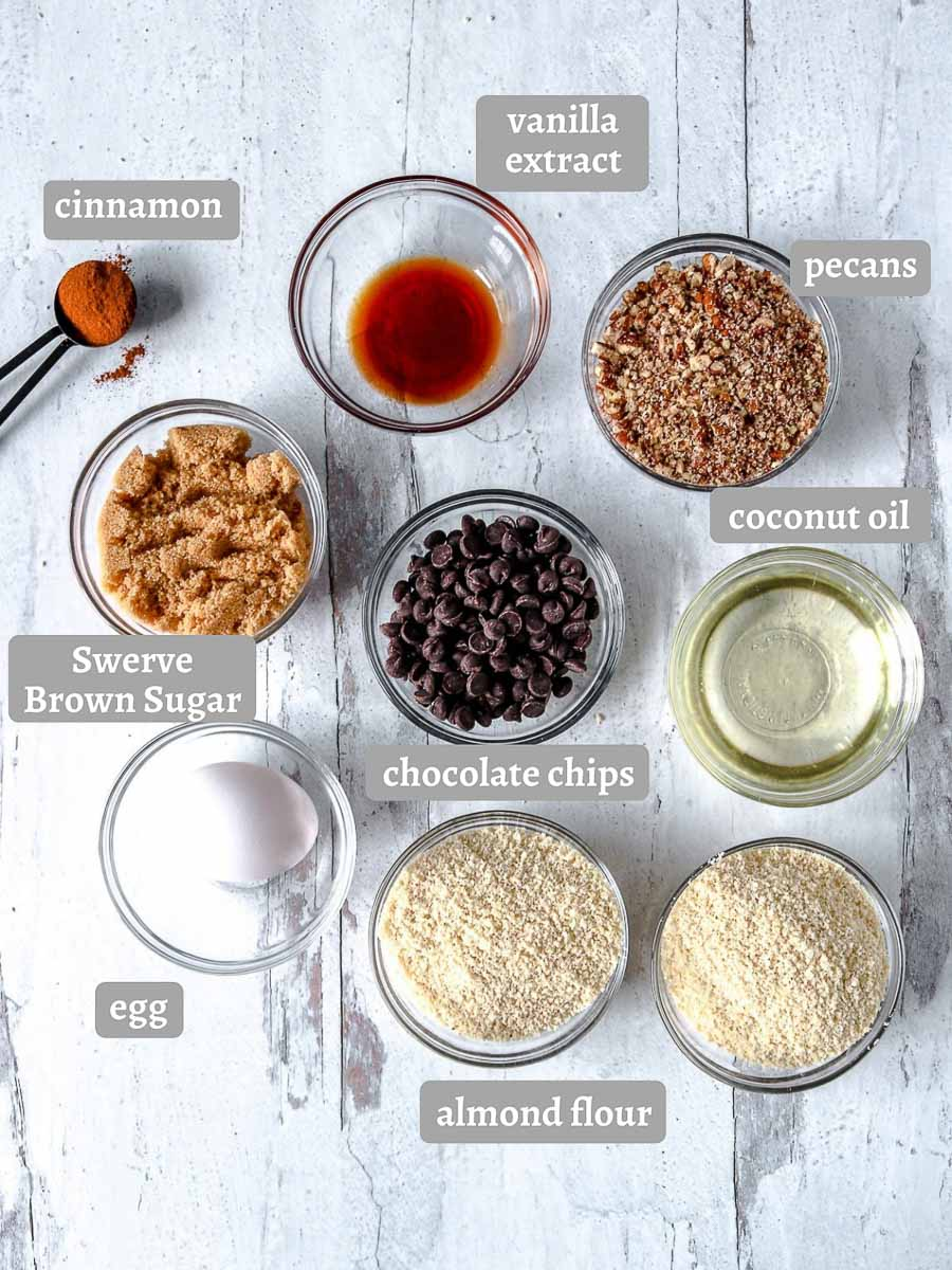 ingredients for keto chocolate pecan cookies