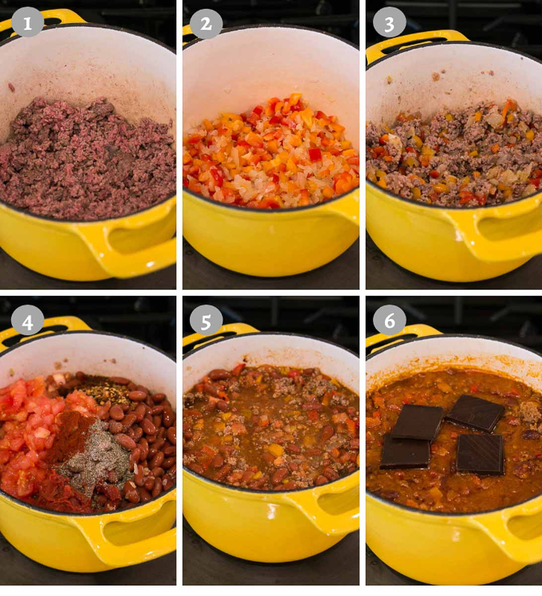 making the best chili recipe - process shots of each step