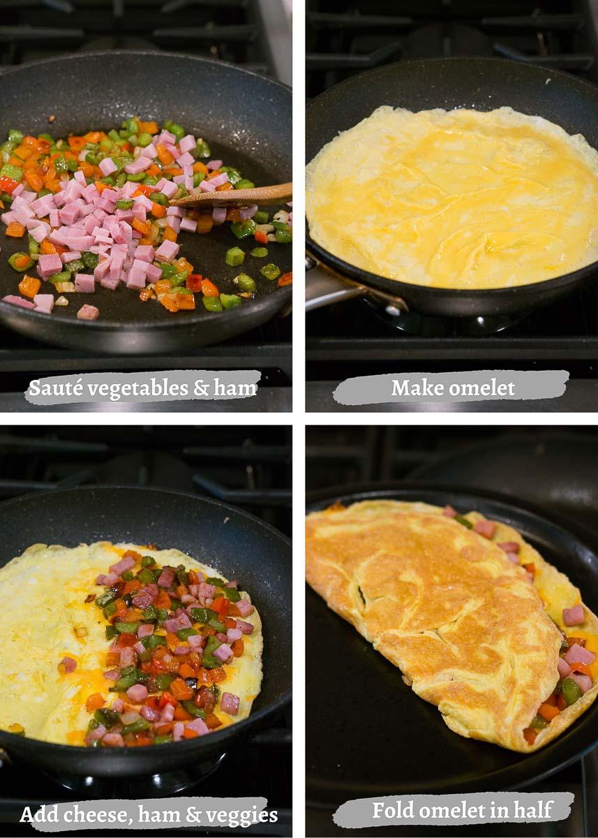 process shots of making denver omelet