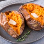 oven baked sweet potatoes on a plate