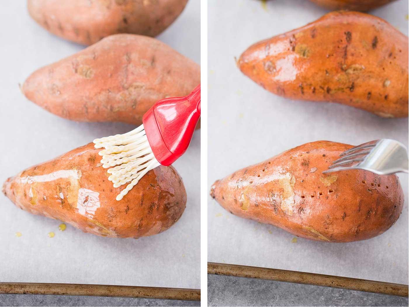 preparing sweet potatoes for baking