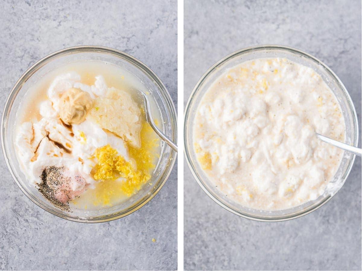 how to make lemon garlic aioli - process shots