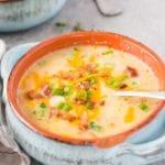 instant pot potato soup served in a bowl