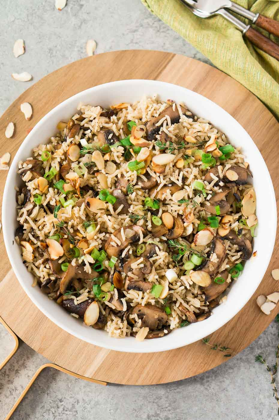 vegetarian side dish made with rice and mushrooms