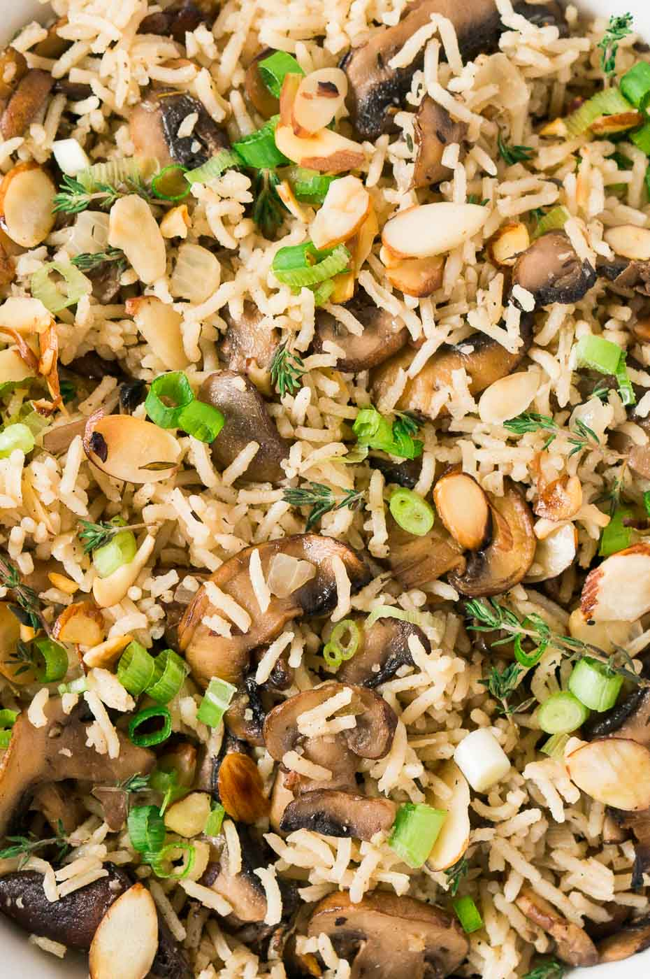close of mushrooms and rice side dish