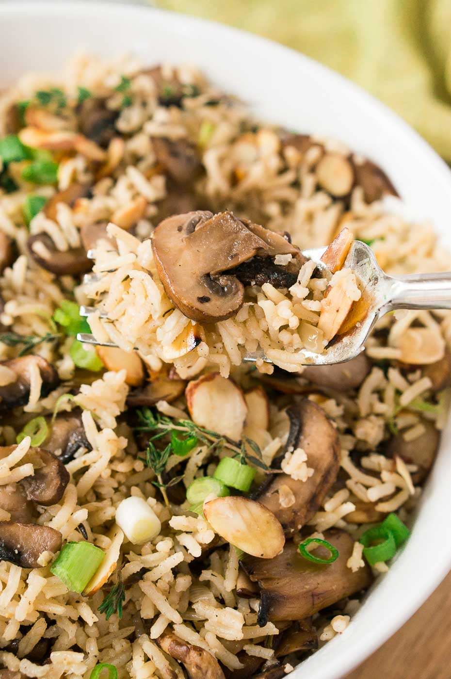 rice with mushrooms in a bowl