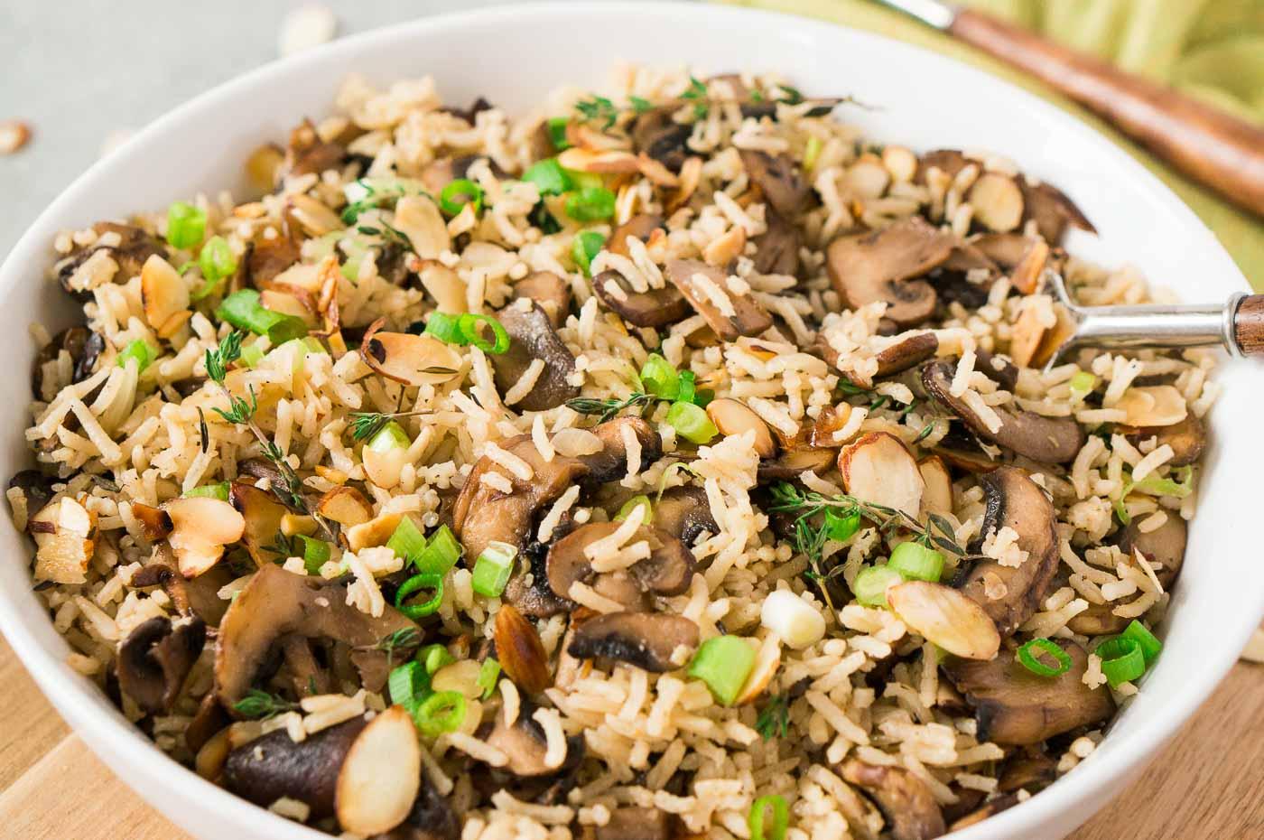 mushroom rice in a bowl