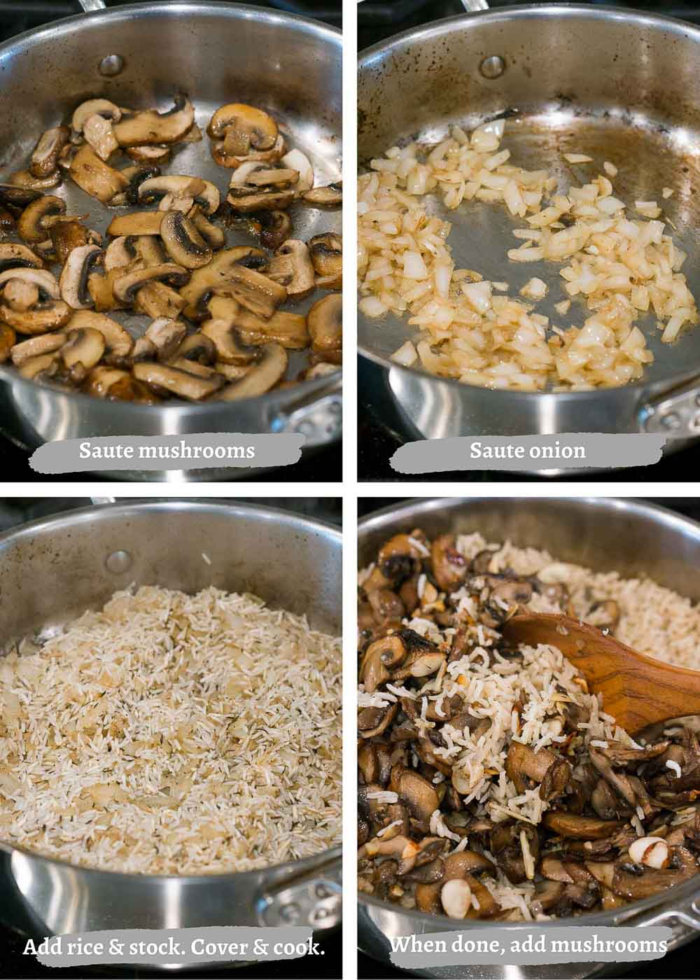 making mushroom rice pilaf - process shots