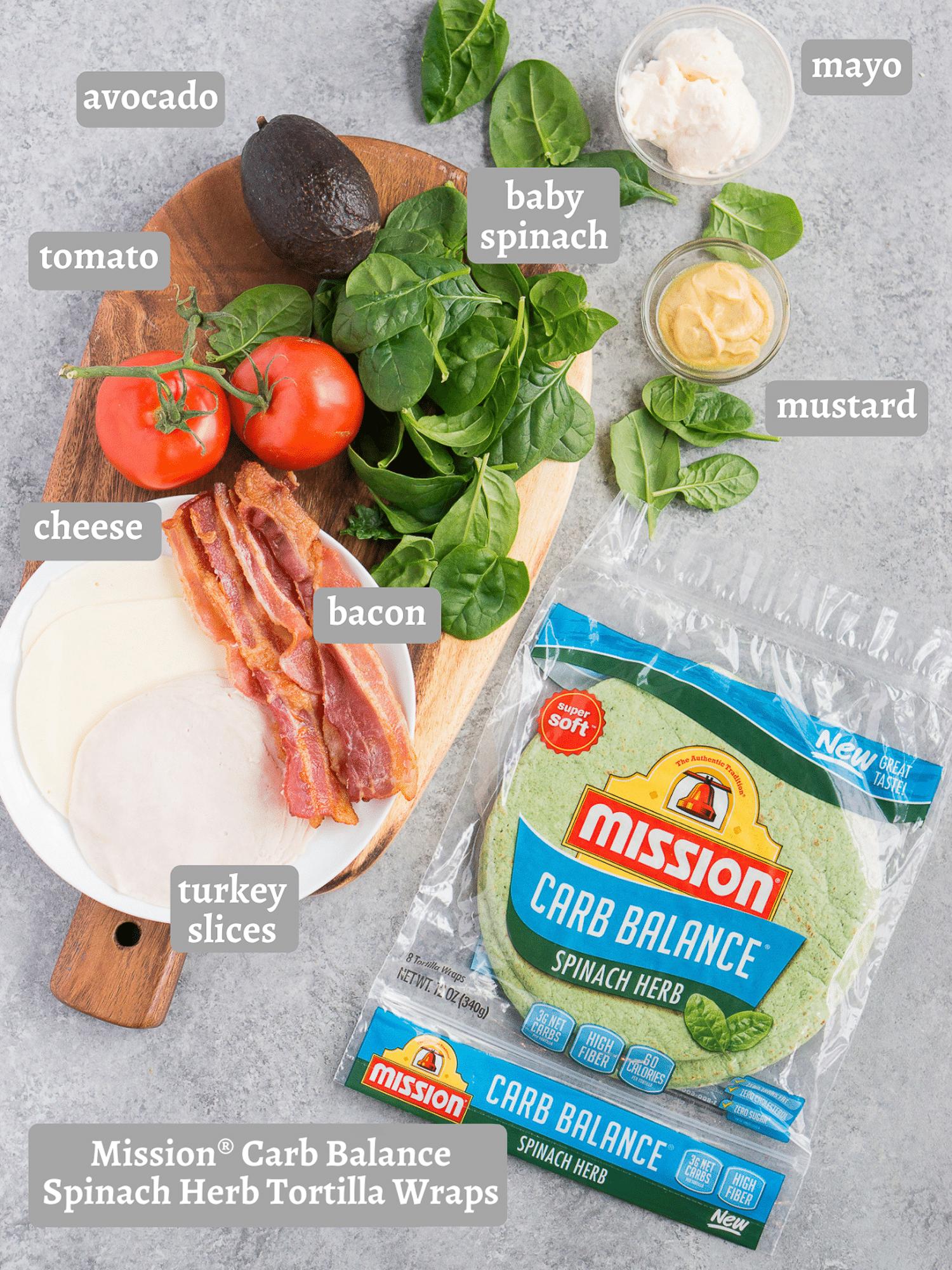 ingredients for turkey club wrap