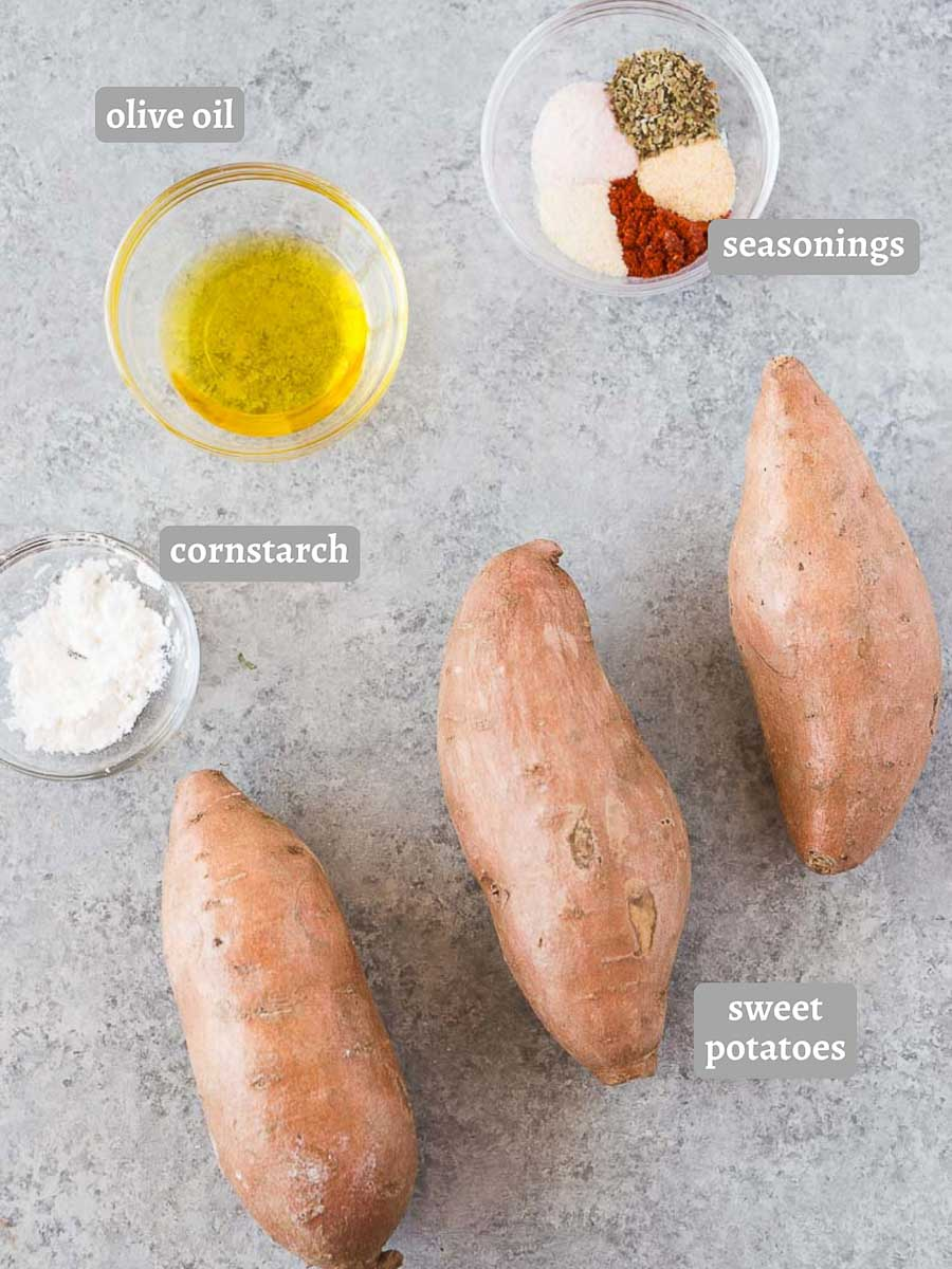 ingredients for sweet potato wedges