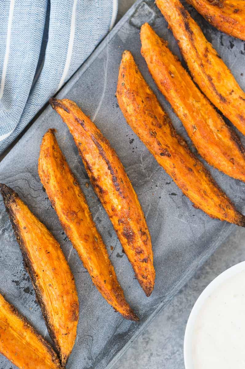 close up shot of roasted crispy sweet potatoes