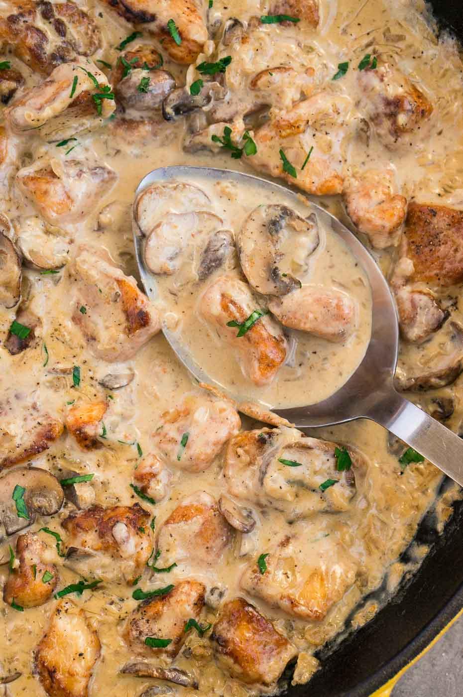 close up creamu mushroom sauce and chicken
