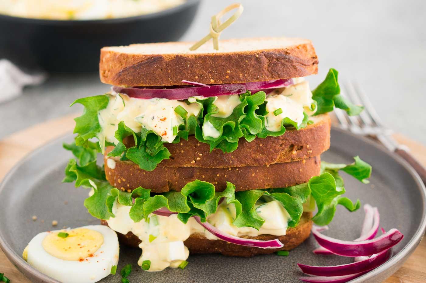 healthy egg sandwich on a plate