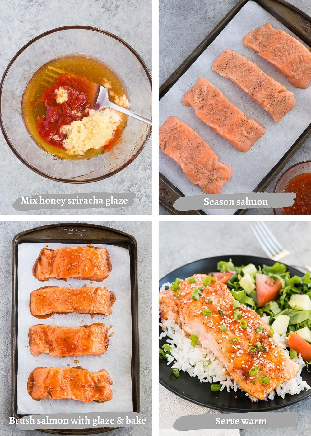 process shots of making honey glazed salmon