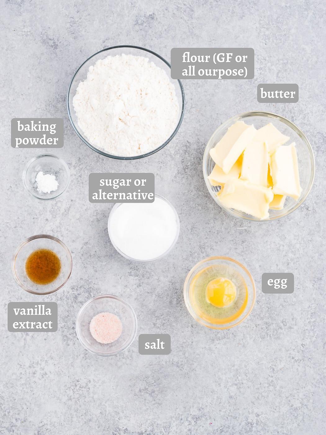 ingredients for shortbread crust