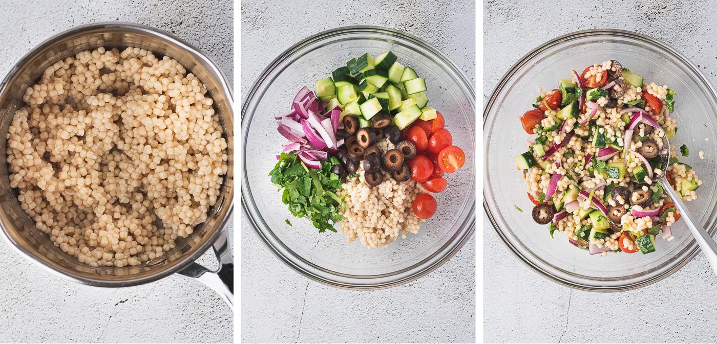 how to make couscous salad - process shots