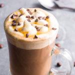 mocha coffee in a tall glass
