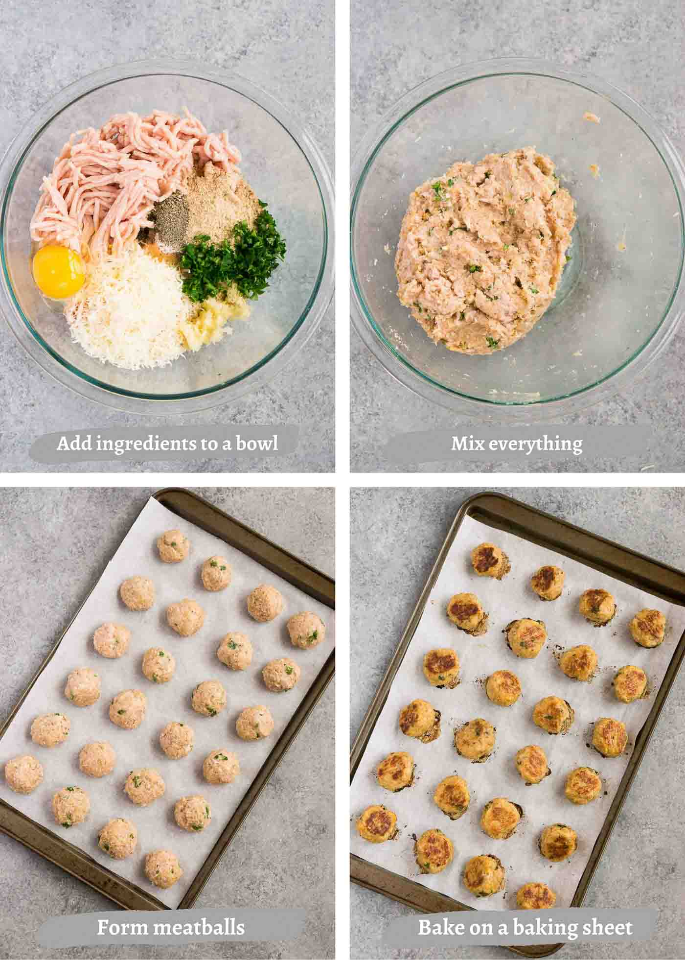 process images of how to bake chicken meatballs in the oven