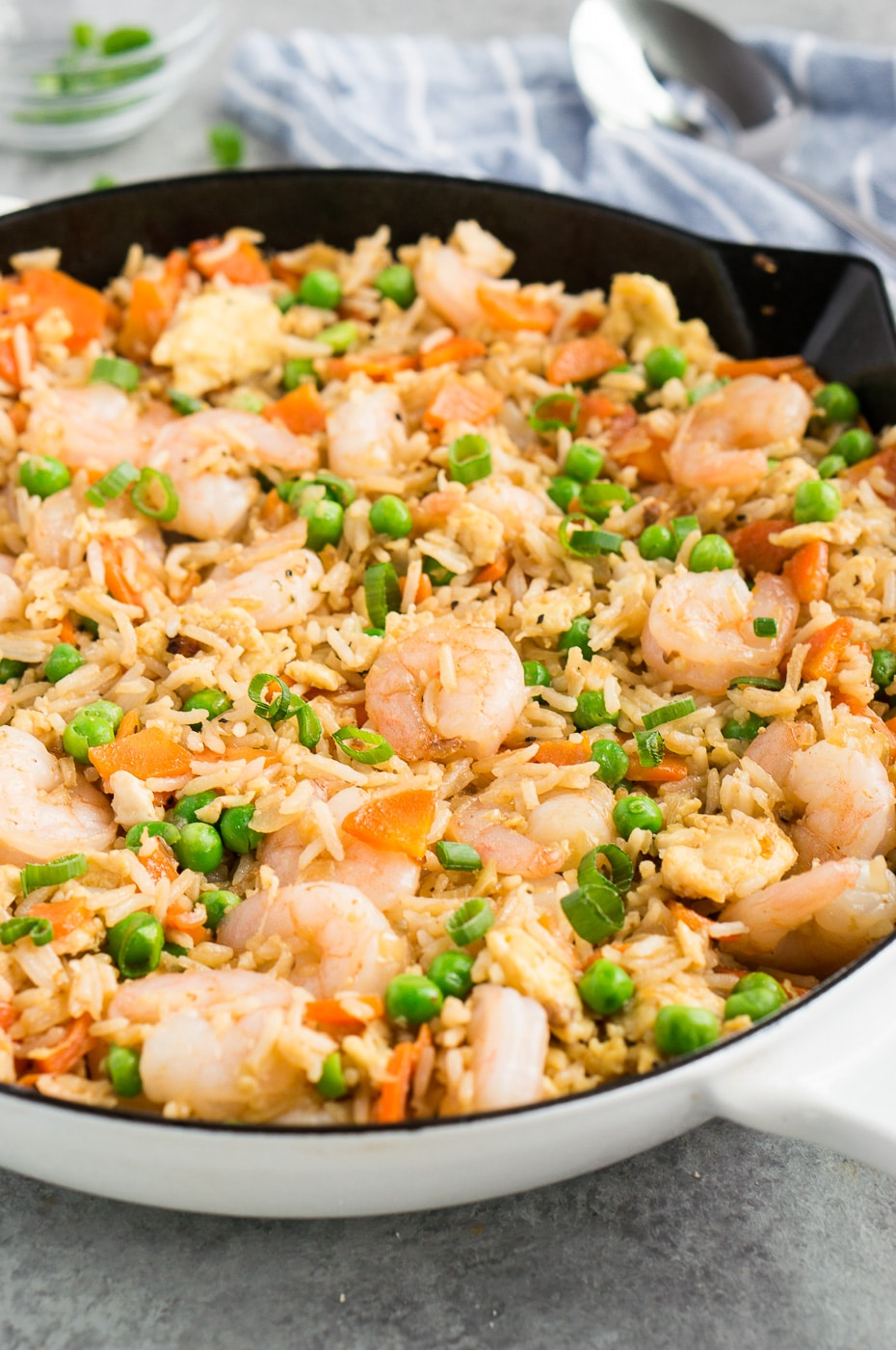 fried rice and shrimp recipe made in a skillet