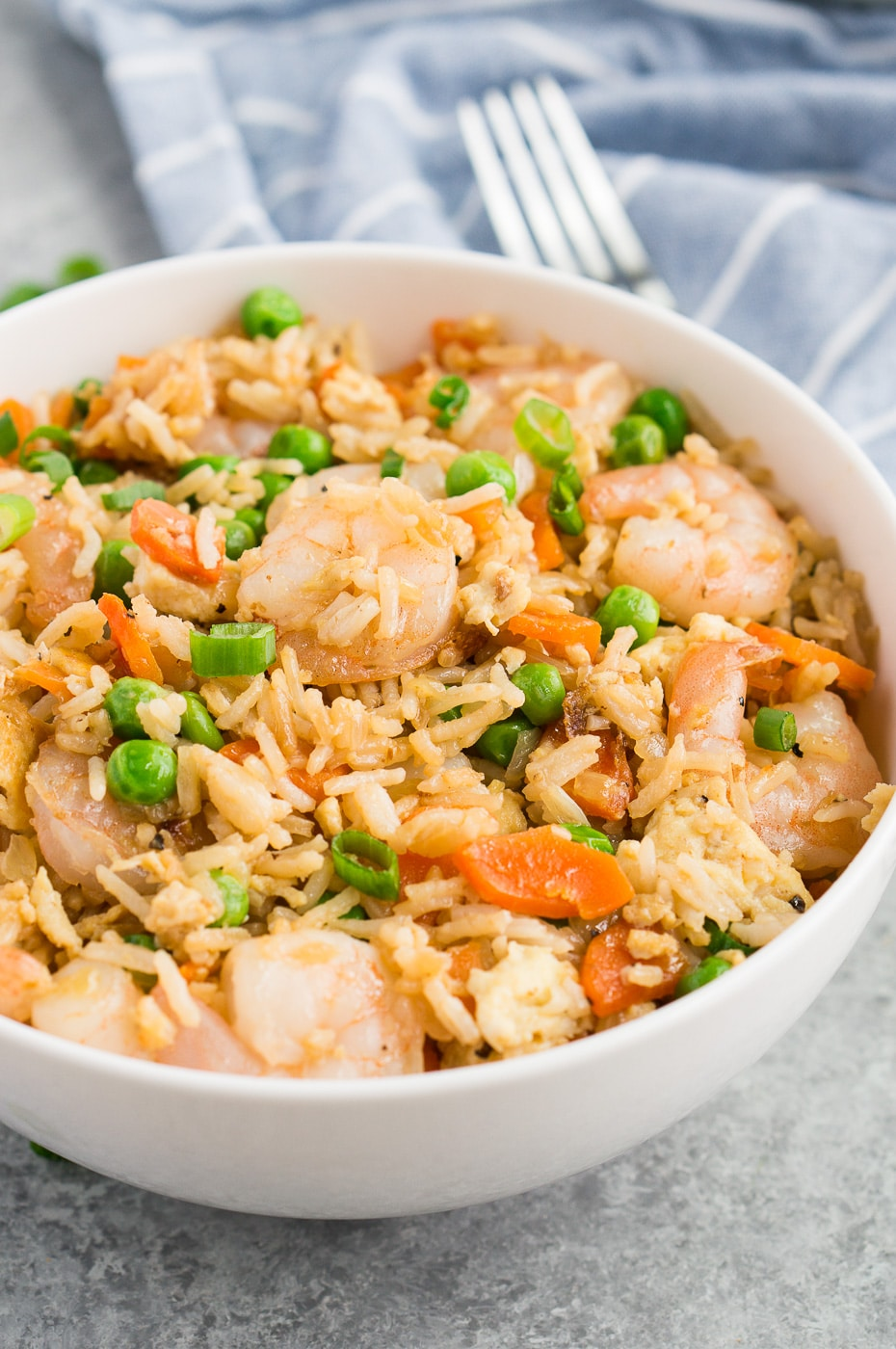 prawns fried rice in a white bowl