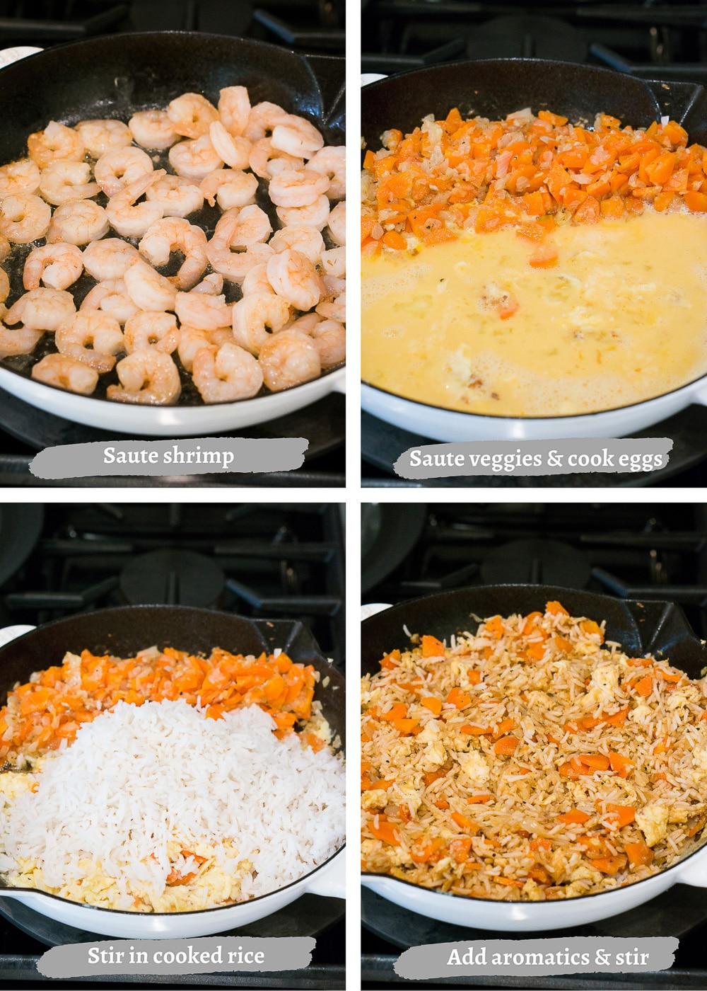 how to make shrimp fried rice - process shots