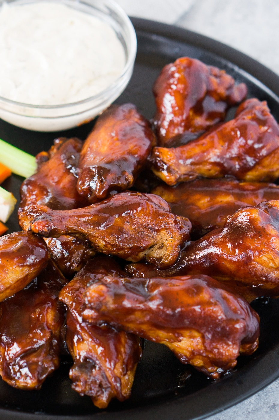 close up shot of bbq baked chicken wings recipe
