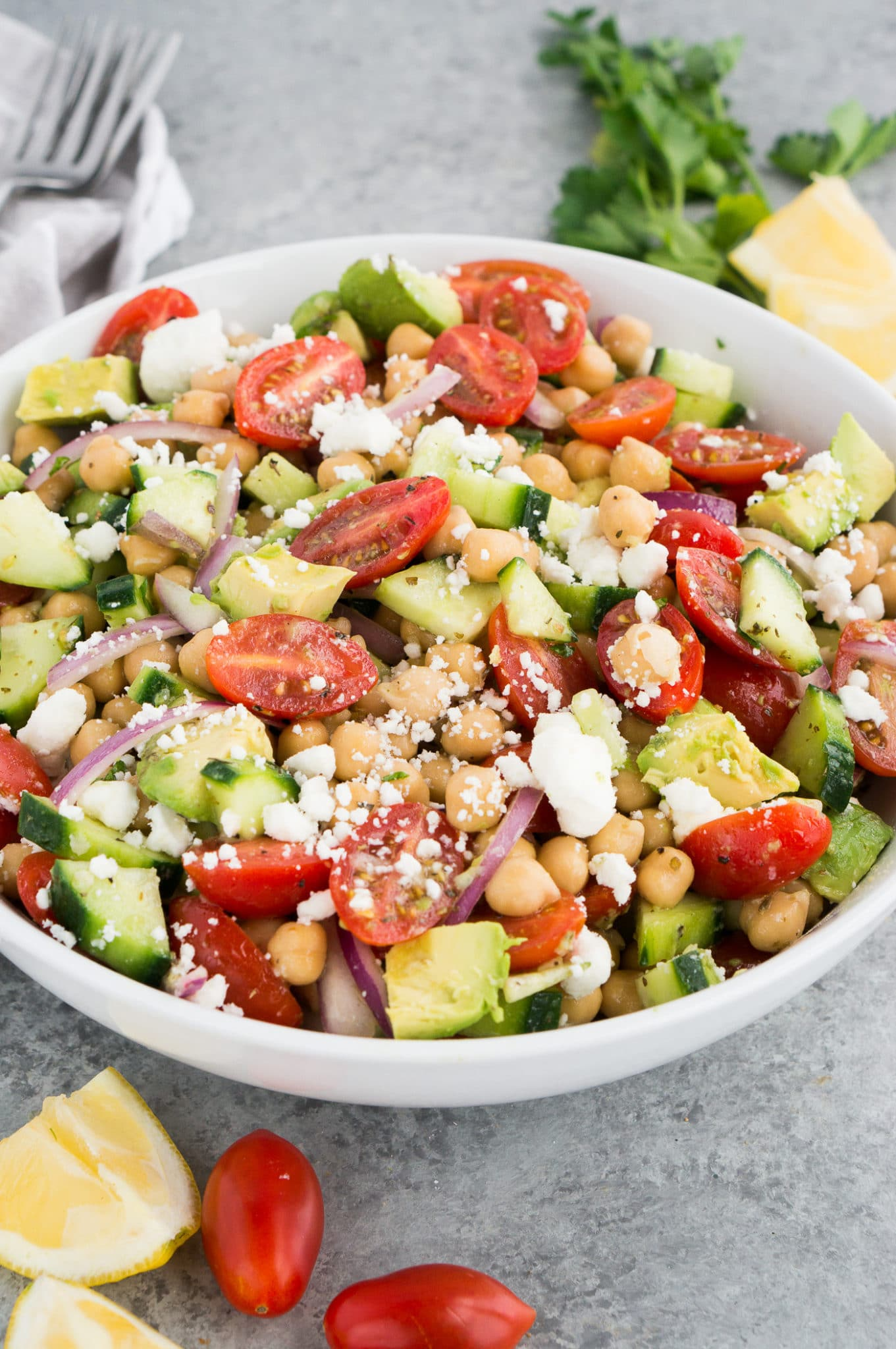 white bowl with chickpea avocado salad