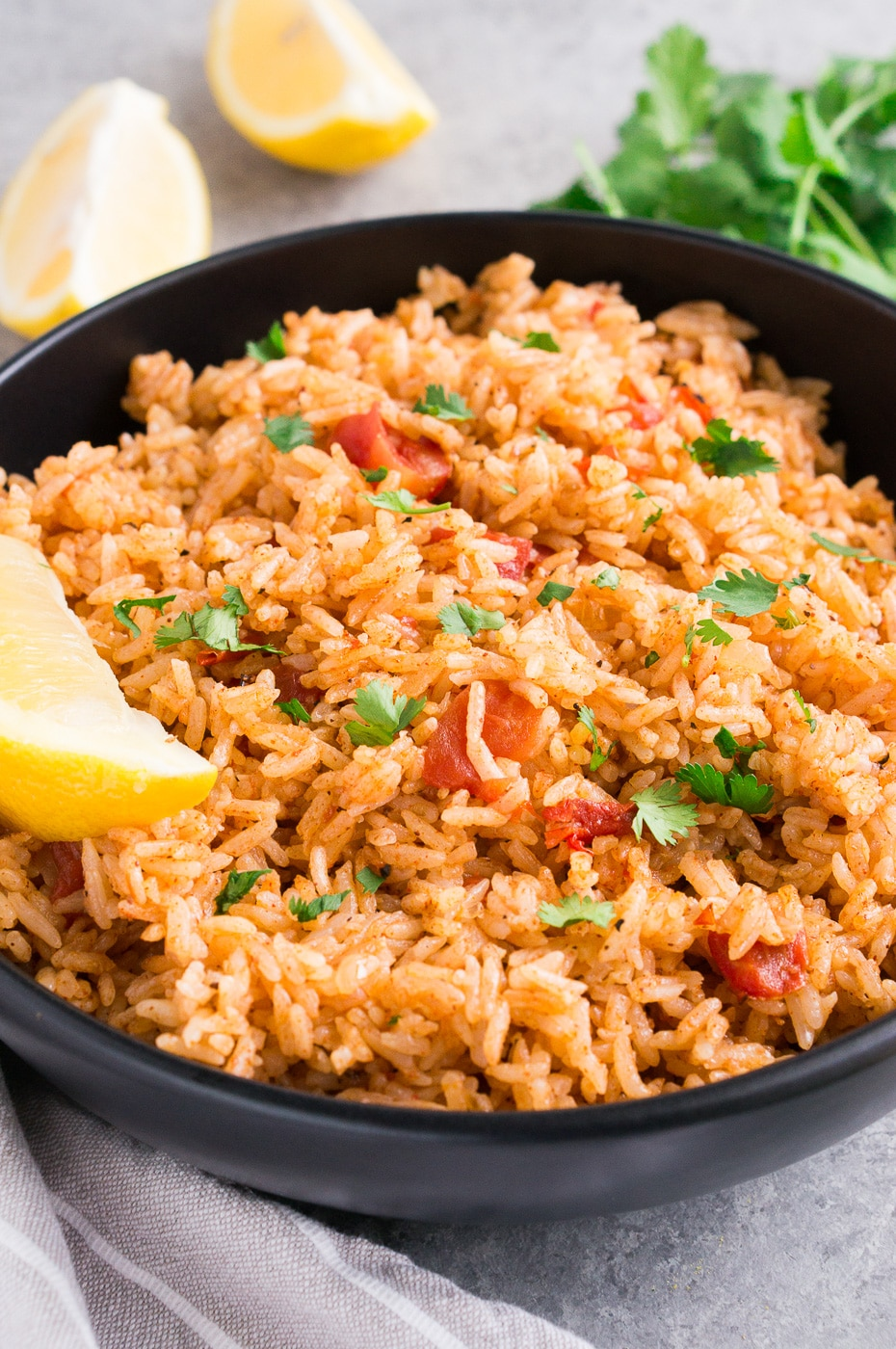 close up of Mexican rice in a bowl