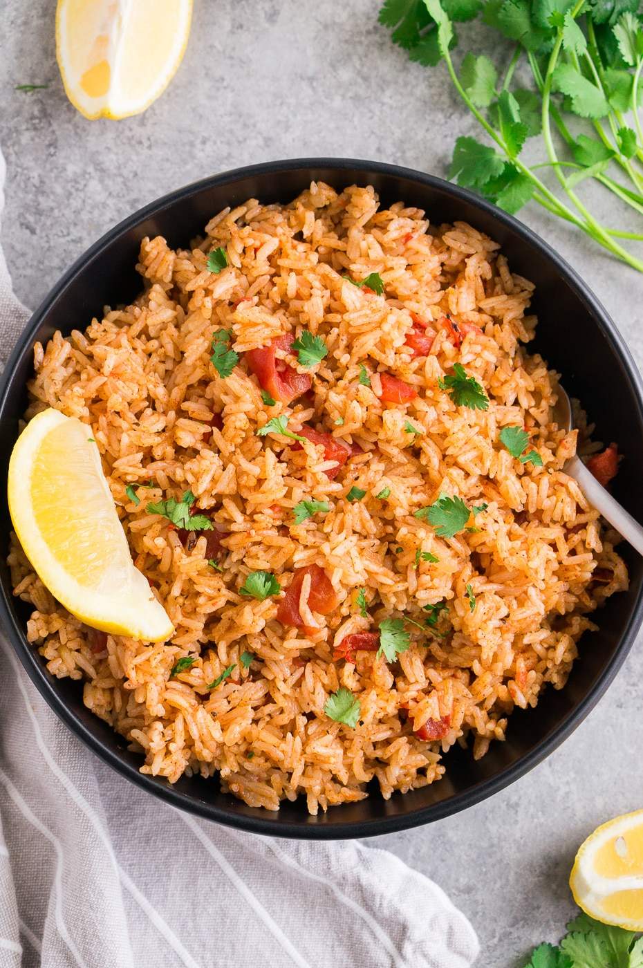 Instant Pot Spanish rice with crushed tomatoes served in a bowl