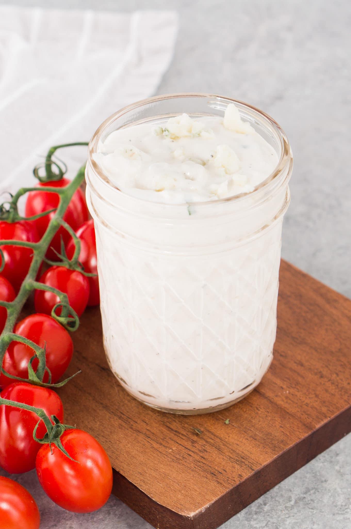 blue cheese dressing in a jar
