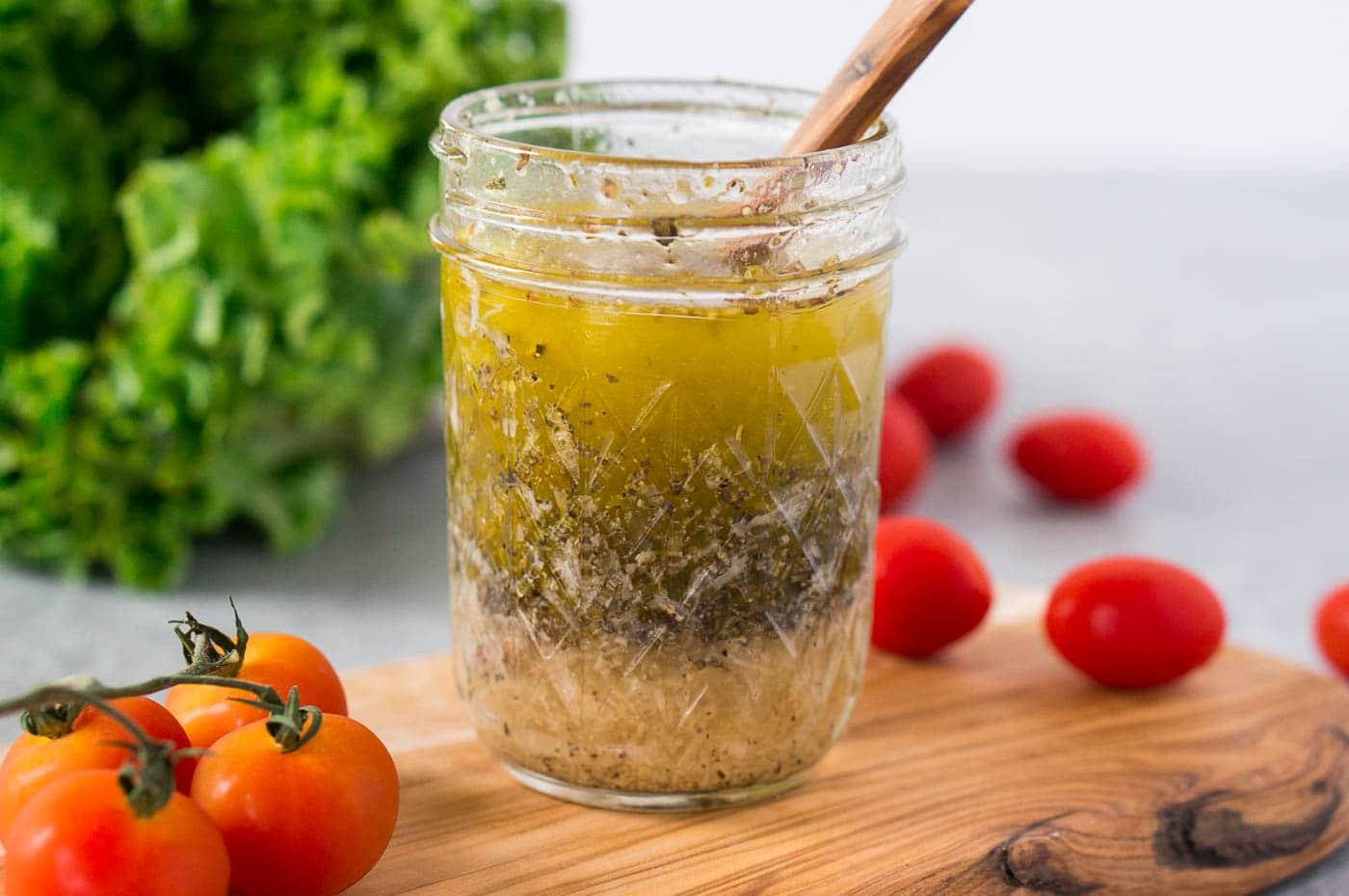homemade Italian salad dressing in a jar