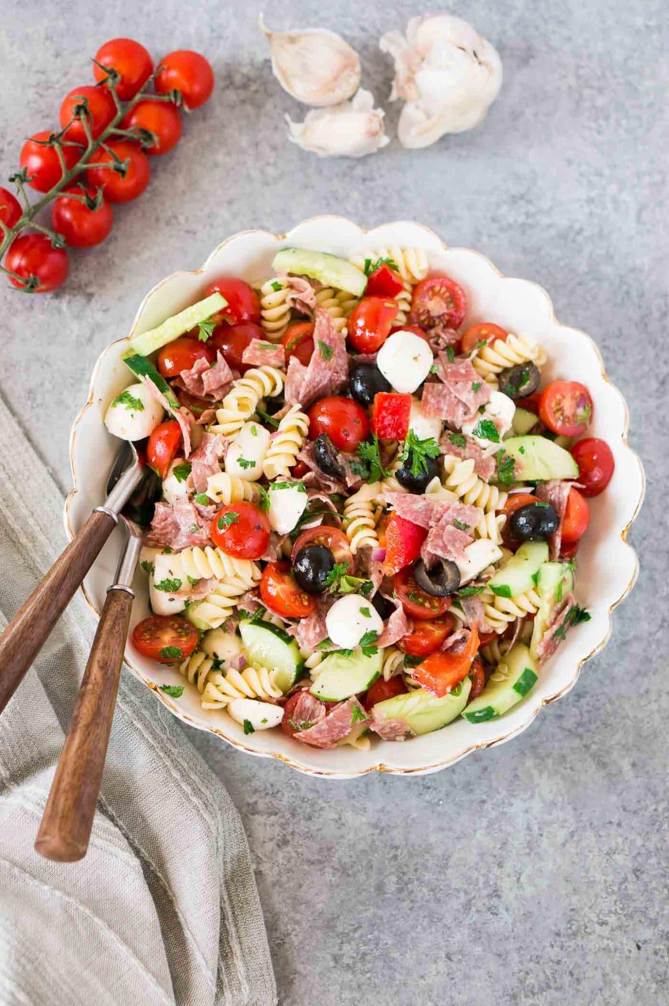 Italian pasta salad with Italian dressing