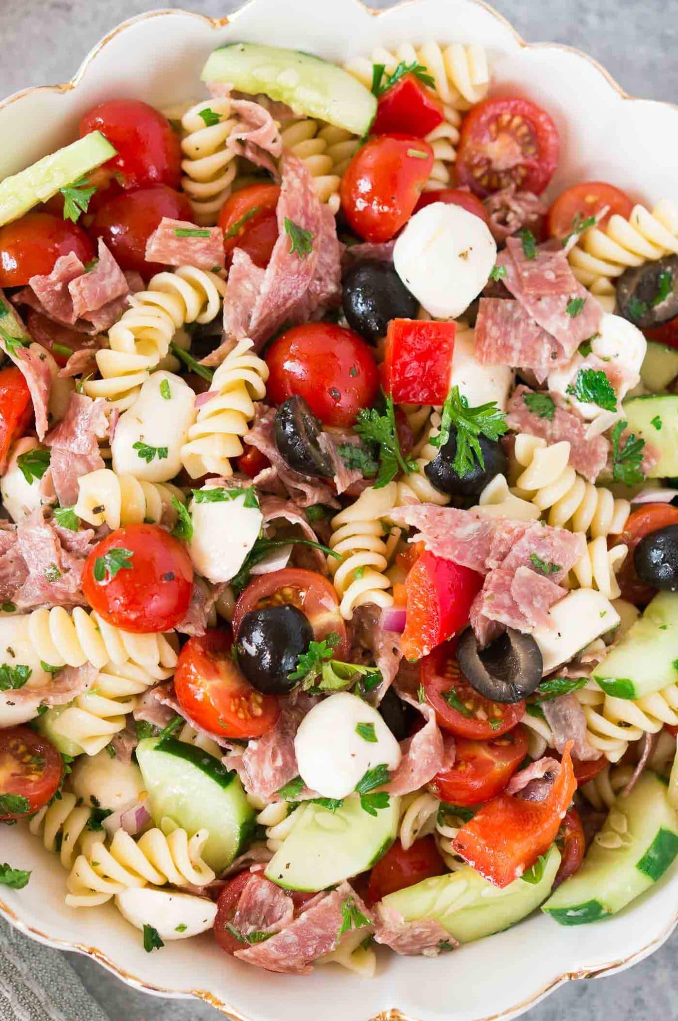 close up shot of Italian salad with pasta