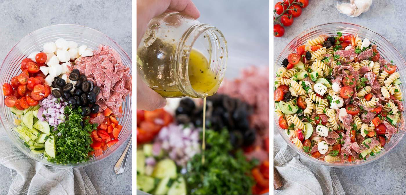 process shots of making Italian pasta salad