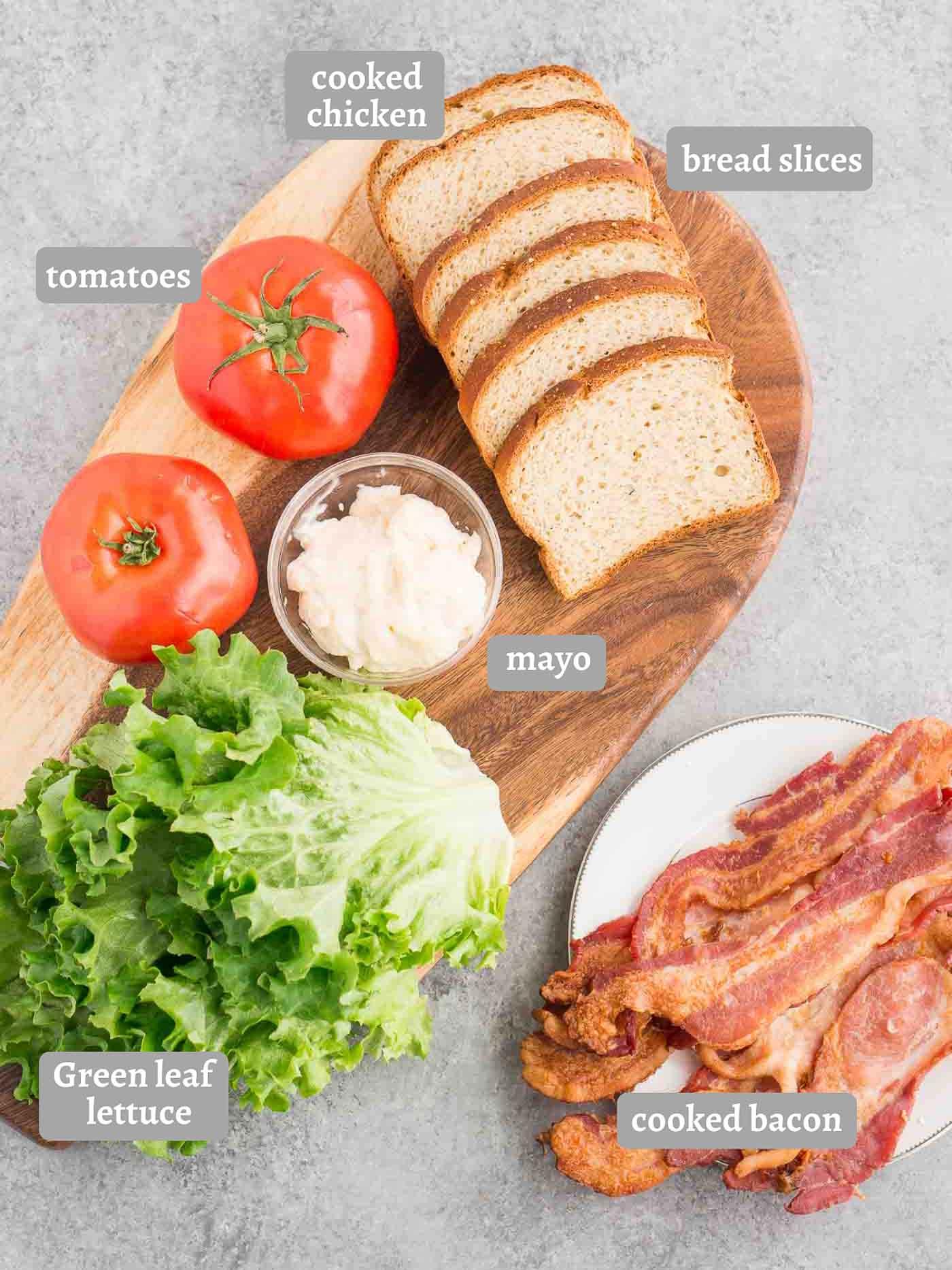 ingredients for BLT sandwich