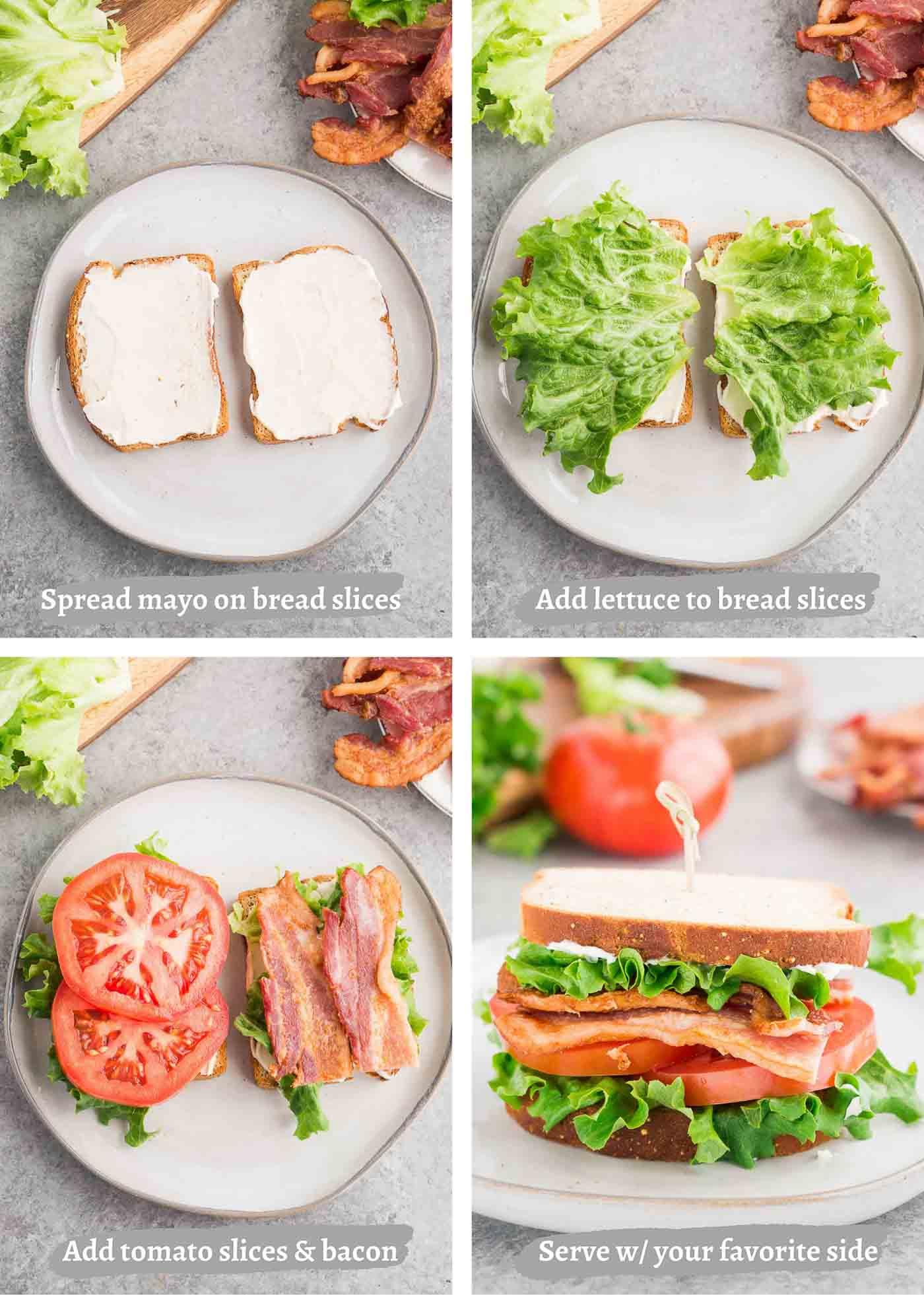 process shot of making BLT sandwich