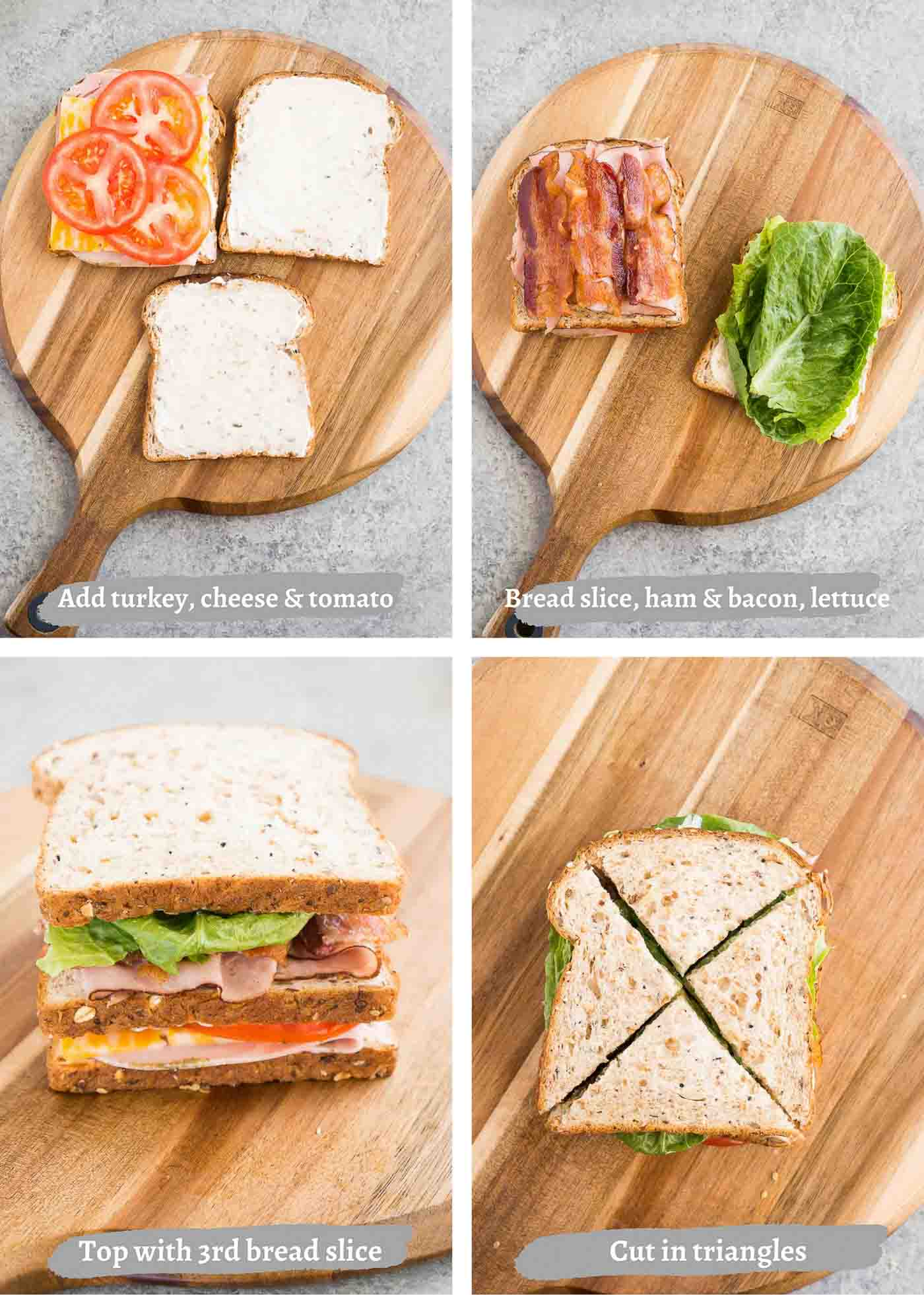 process images of making clubhouse sandwich