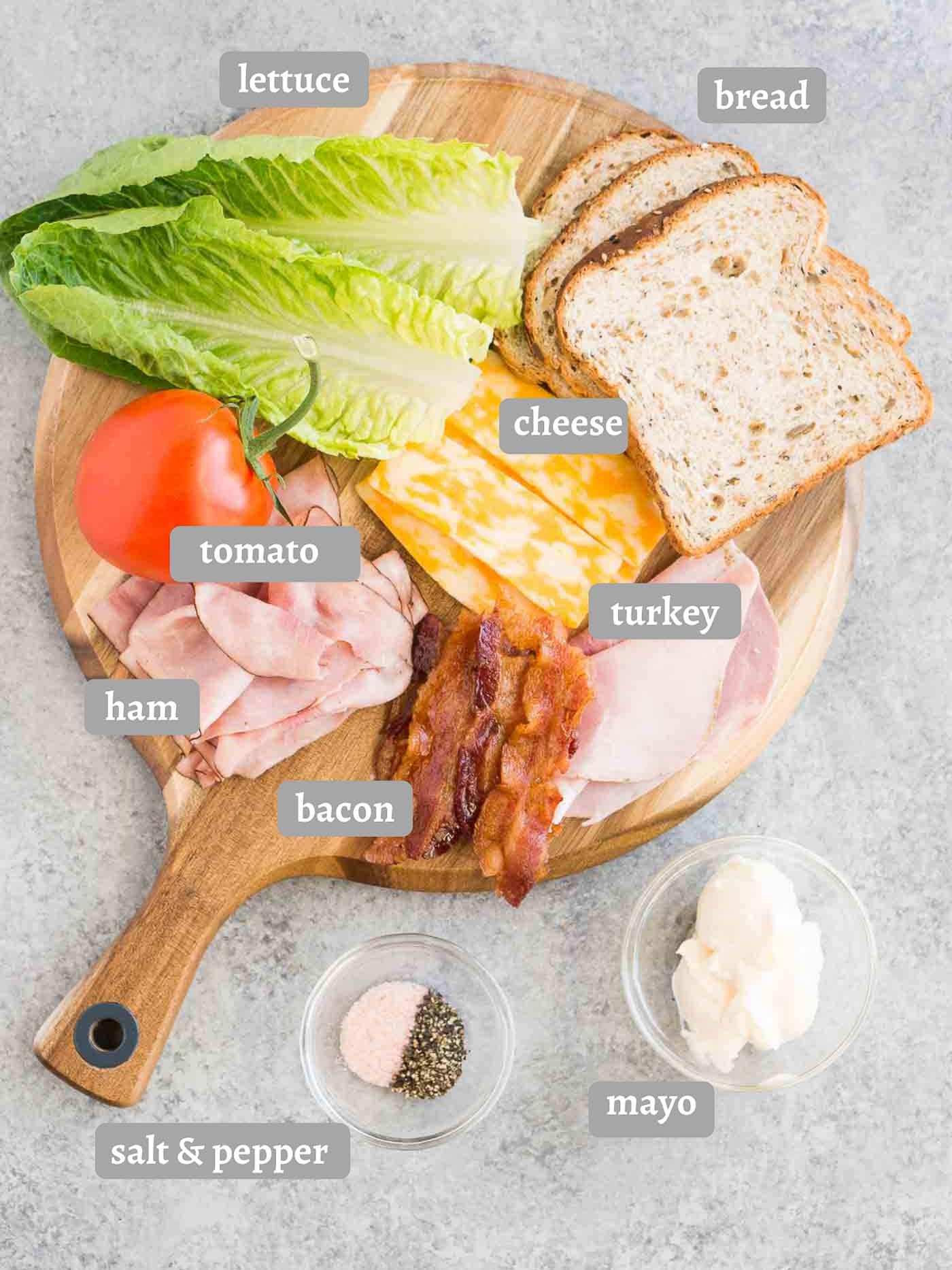 ingredients for club sandwich