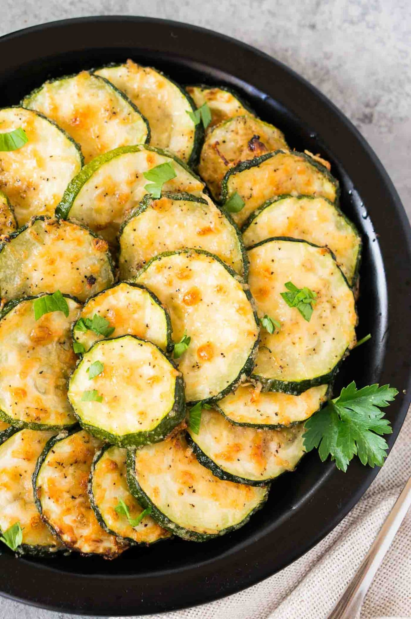 close up image of zucchini slices on a plate