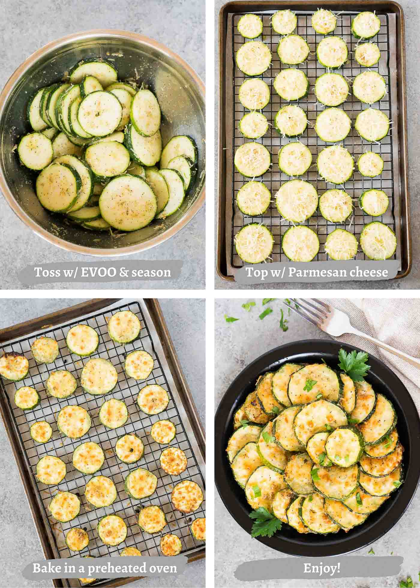 process images of making zucchini slices in the oven