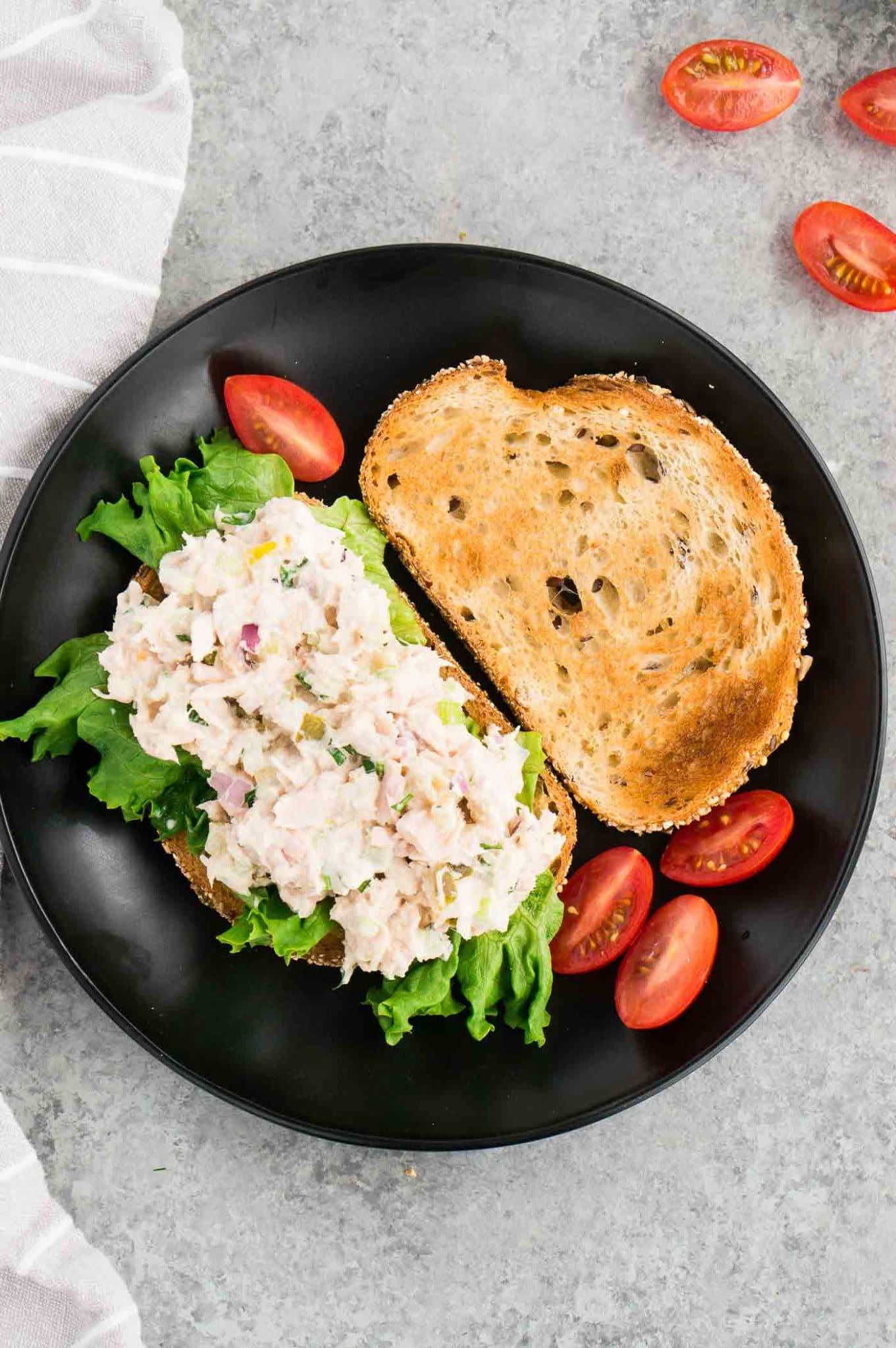 open face sandwich with tuna spread