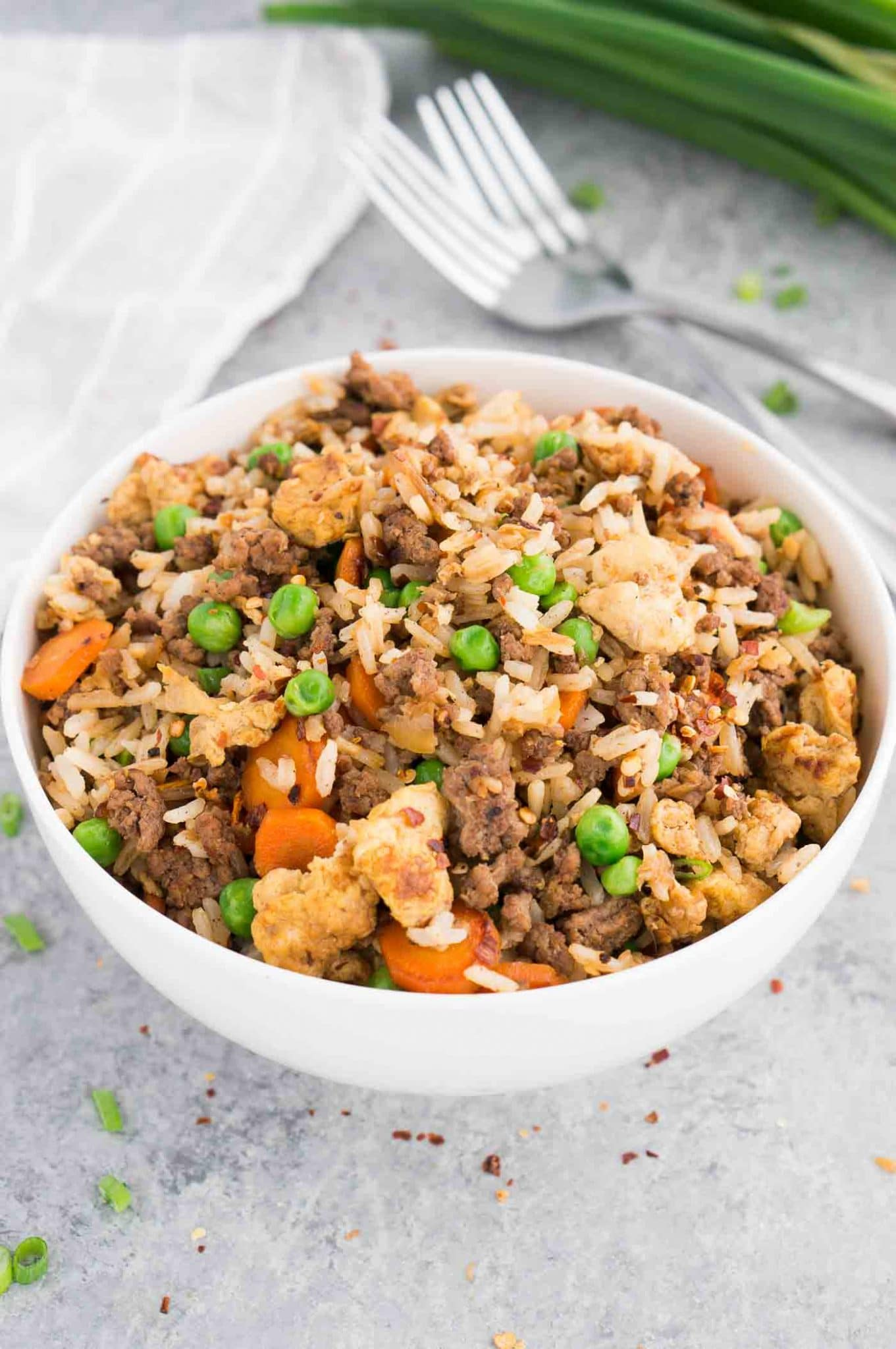beef fried rice in a white bowl